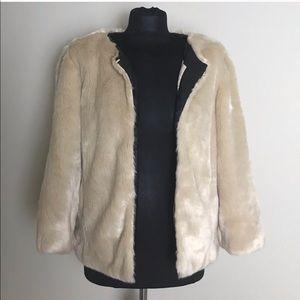 Zara Tan Faux Fur Crop Jacket